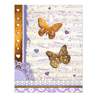 Pretty Purple & Gold butterflies & music collage Personalized Invites