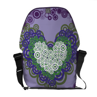 Pretty Purple Green Hearts and Circles Pattern Messenger Bags