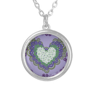 Pretty Purple Green Hearts and Circles Pattern Custom Necklace