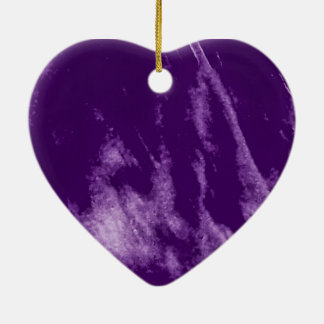 PRETTY PURPLE HEART ORN CERAMIC ORNAMENT