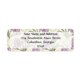 Pretty Purple Iris Flower Pattern Return Address Label