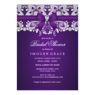 Pretty Purple Lace & Diamond Bow Bridal Shower Card