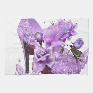 Pretty Purple Lavender Hi Heel Rose Floral Tea Towel