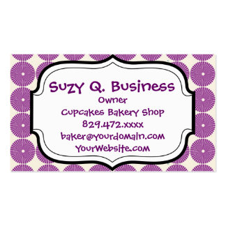 Pretty Purple Lilac Circles Disks Textured Buttons Business Card Template