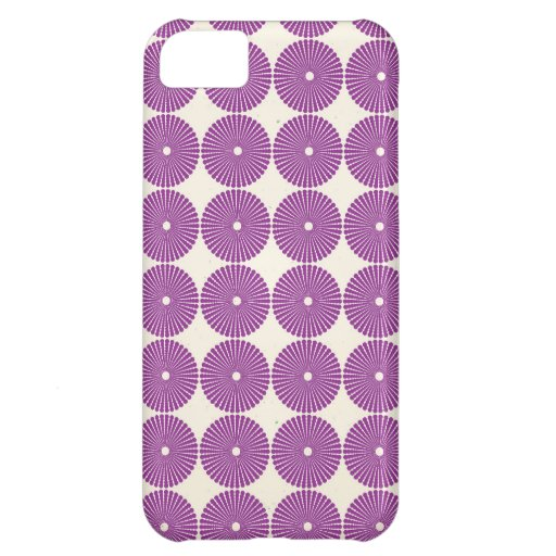 Pretty Purple Lilac Circles Disks Textured Buttons Case For iPhone 5C