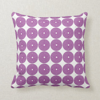 Pretty Purple Lilac Circles Disks Textured Buttons Throw Pillow