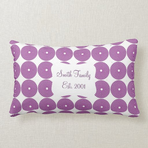 Pretty Purple Lilac Circles Disks Textured Buttons Pillow