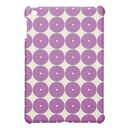 Pretty Purple Lilac Circles Disks Textured Buttons Cover For The iPad Mini