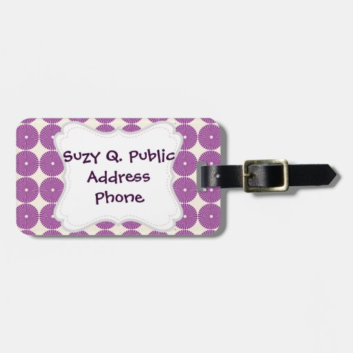 Pretty Purple Lilac Circles Disks Textured Buttons Bag Tag