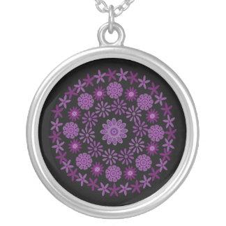 Pretty Purple & Lilac Flowers Customizable Black Custom Jewelry