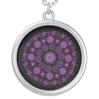 Pretty Purple & Lilac Flowers Customizable Black Round Pendant Necklace