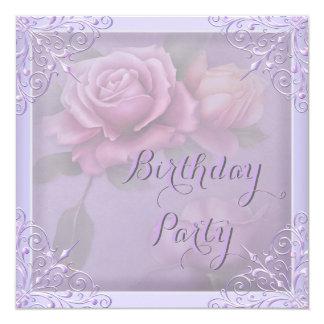Pretty Purple Lilac Rose Birthday Party 13 Cm X 13 Cm Square Invitation Card