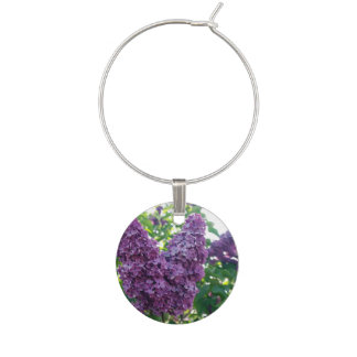 Pretty Purple Lilacs Wine Charm