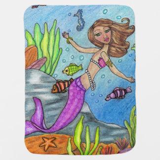 Pretty Purple Mermaid Swimming Fish Seaweed Rocks Pramblankets