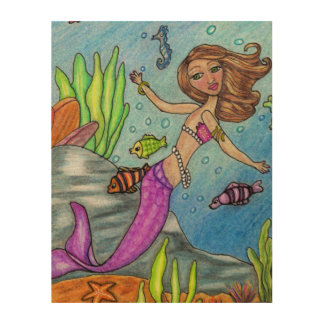 Pretty Purple Mermaid Swimming Fish Seaweed Rocks Wood Prints