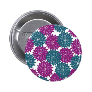 Pretty Purple Navy Blue Flower Blossoms Print Buttons