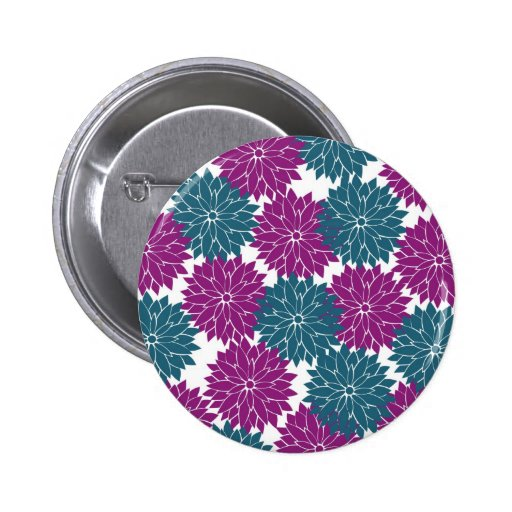 Pretty Purple Navy Blue Flower Blossoms Print Buttons