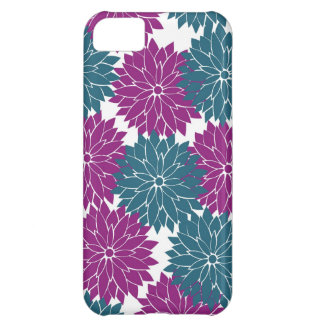 Pretty Purple Navy Blue Flower Blossoms Print iPhone 5C Case