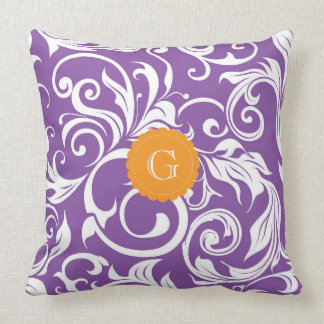 Pretty Purple Orange Floral Wallpaper Monogram Cushion