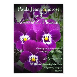Pretty Purple Pansy Nuptials Card