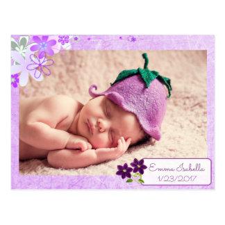 Pretty Purple Personalized Baby Birth Announcement Postcard