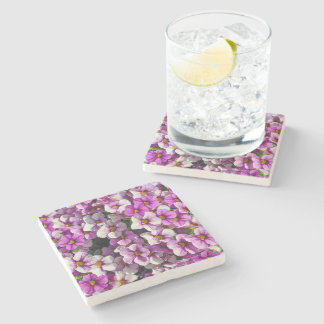 Pretty purple petunias stone coaster