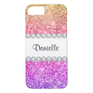 Pretty Purple Pink Glitter White Diamond Beautiful iPhone 8/7 Case