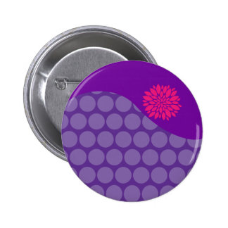 Pretty Purple Polka Dots Wave with Pink Flower Pinback Buttons