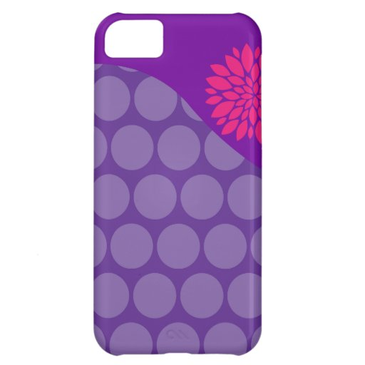 Pretty Purple Polka Dots Wave with Pink Flower Case For iPhone 5C