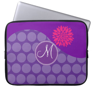 Pretty Purple Polka Dots Wave with Pink Flower Laptop Sleeve