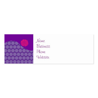 Pretty Purple Polka Dots Wave with Pink Flower Pack Of Skinny Business Cards