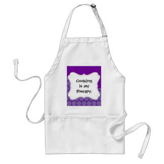 Pretty Purple Polka Dots Wave with Pink Flower Standard Apron