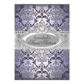 Pretty Purple Silver Damask Sweet 16 Invite