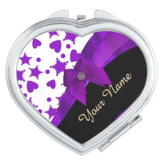 Pretty purple spotty girly pattern personalized compact mirrors