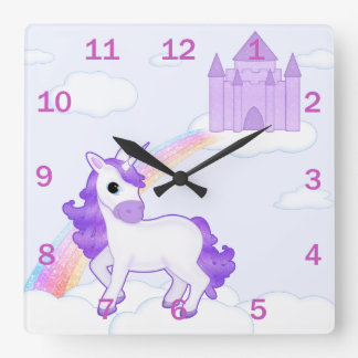 Pretty Purple Unicorn on Fairytale Background Wall Clocks