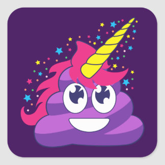 Pretty Purple Unicorn Poop Emoji Square Sticker