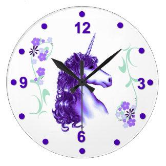 Pretty Purple Unicorn Wall Clock