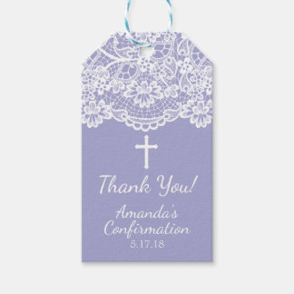 Pretty Purple Vintage Lace Confirmation Gift Tag