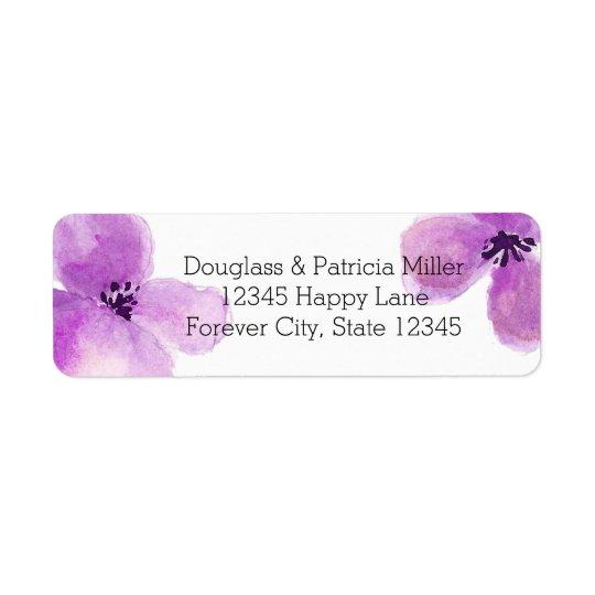 Pretty Purple Watercolor Floral Return Address Label