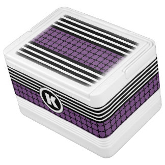 Pretty Purple, White & Black w/Monogram Cooler