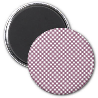 Pretty Purple White Plaid Pattern Gifts for Her 6 Cm Round Magnet