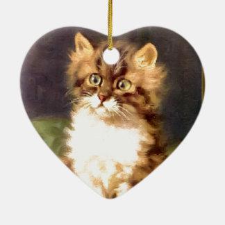 Pretty pussy ceramic heart decoration
