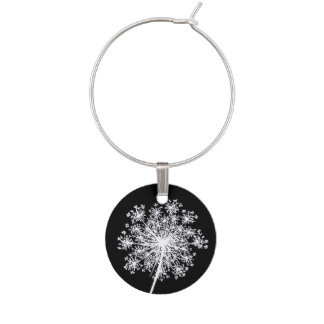 Pretty Queen Anne's Lace Flower Art Wine Charm