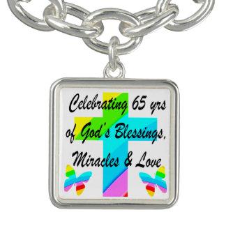 PRETTY RAINBOW CROSS 65TH BIRTHDAY DESIGN