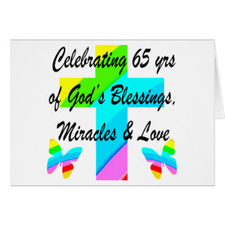 PRETTY RAINBOW CROSS 65TH BIRTHDAY DESIGN CARD