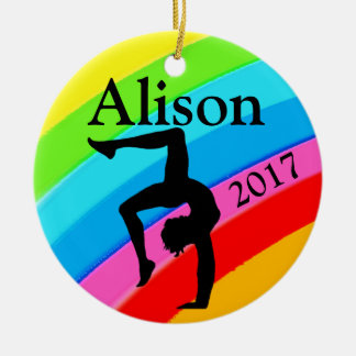 PRETTY RAINBOW GYMNASTICS CUSTOM ORNAMENT