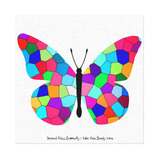 Pretty Rainbow Stained Glass Butterfly Stretched Canvas Prints