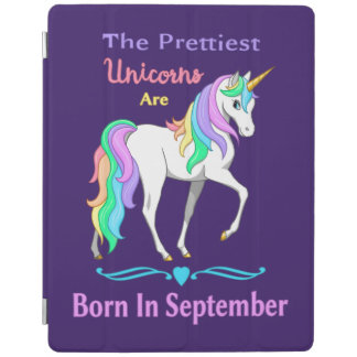 Pretty Rainbow Unicorns Born In September iPad Cover
