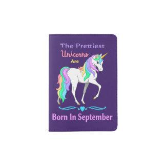 Pretty Rainbow Unicorns Born In September Passport Holder