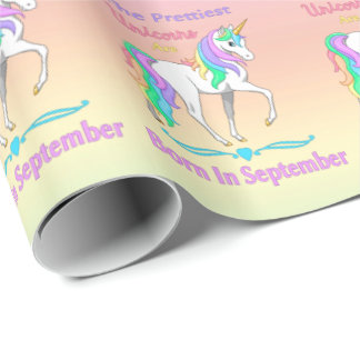 Pretty Rainbow Unicorns Born In September Wrapping Paper